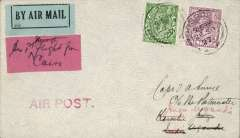 "(GB External) Gladstone second ""Pelican"" service, London to Jinja, bs 17/10, carried on Gladstone's return flight in the repaired Pelican, red double ring ""Uganda-Sudan Air Mail"" cachet, Smye cover franked 6 1/2d canc Gosport cds, ms ""per Khartoum-Uganda Air Mail"", dark red label, ms'Per 1st flight from Cairo'. Francis Field authentication hs verso."