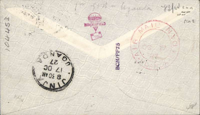 """(GB External) Gladstone second """"Pelican"""" service, London to Jinja, bs 17/10, carried on Gladstone's return flight in the repaired Pelican, red double ring """"Uganda-Sudan Air Mail"""" cachet, Smye cover franked 6 1/2d canc Gosport cds, ms """"per Khartoum-Uganda Air Mail"""", dark red label, ms'Per 1st flight from Cairo'. Francis Field authentication hs verso."""