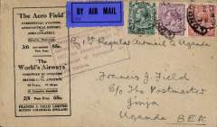 "(GB External) Attempted first regular airmail to Uganda, London to Jinja bs 4/4, via Kisumu 31/3, also red circular 'Kenya-Sudan/Mr 31 27/Air Mail' ds verso, and red framed explanatory cachet ""Service officially arranged to operate from London, March 10 1927, but abandoned due to crash of Hydroplane on Lake Victoria"" on front, black/buff Francis Field printed cover franked 6d 4d & 1 1/2d, canc London hooded cds. Scarce, rated 280 points by Newall (p89). Image."