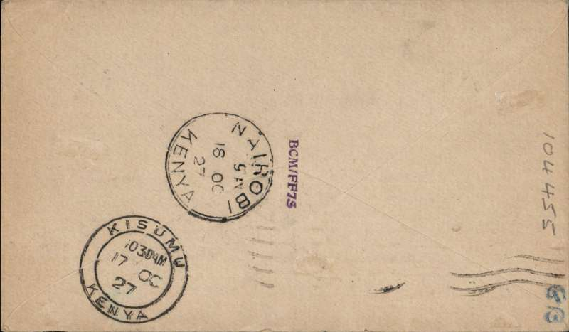 "(GB External) London to Kisumu, bs 17/10, and on to Nairobi 18/10, carried on Gladstone's return flight in the repaired Pelican, red circular ""Kenya-Sudan Air Mail"" cachet, franked 7 1/2d canc London FS cds, ms ""Per Khartoum-Kisumu/Air Mail"", plain cover, black/dark blue etiquette, Francis Field authentication hs verso. Newall 160u, see illustration of this particular cover on p96."