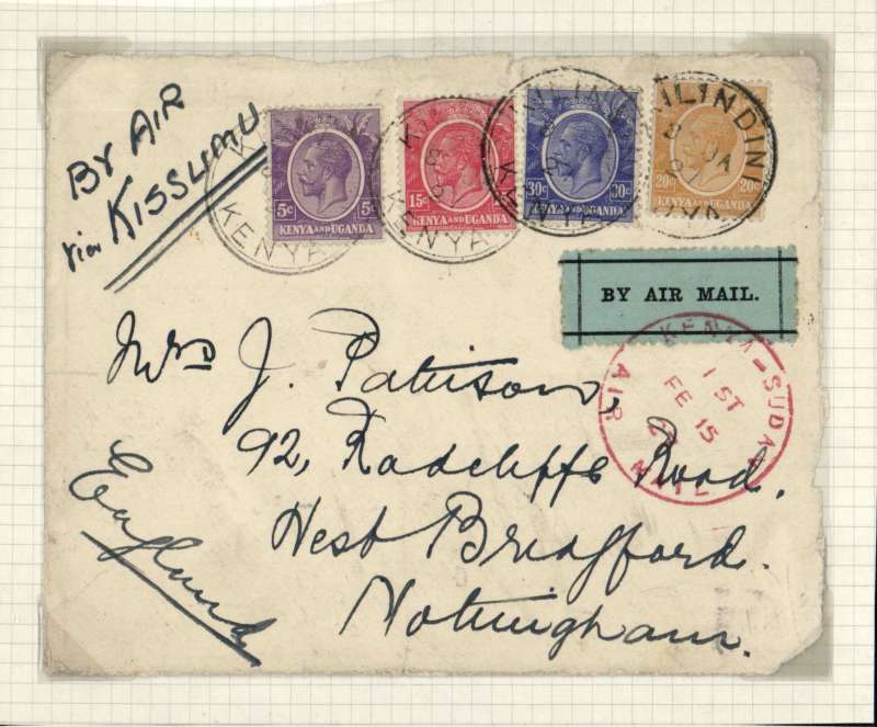 "(Kenya) East African Experimental Air Mail Service, Capt. TA Gladstone, internal feeder mail from Nairobi, addressed to London, carried on the return flight from Kisumu to Khartoum, then by RAF from Khartoum to Cairo, franked Kenya and Uganda 70c canc Malindi 8 Jan cds, red circular ""Kenya-Sudan/ 1st/Air Mail/Fe 15/27"" cachet , ms 'By Air/Via Kisumu', plain cover FRONT ONLY with black/pale green etiquette rated 'a great rarity' by Mair."
