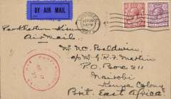 "(GB External) London to Nairobi bs 18/10, Captain Gladstone's last flight Khartoum to Kisumu 17/10, airmail eiquette cover franked 7 1/2d canc London FS cds, fine strike red 'Kenya-Sudan/Oct 17/27/Air Mail' cachet, ms 'Per Khartum-Kisumu/Air Mail'. Newall states ""only 8 posted from London"", ref 27.19c, 160 units. Francis Field authentication hs verso."