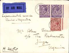 "(GB External) Gladstone second ""Pelican"" service, London to Jinja, bs 17/10, carried on Gladstone's first flight in the repaired Pelican, red double ring ""Uganda-Sudan Air Mail"" cachet, plain cover franked 7 1/2d canc Wrexham cds, ms ""Experimental Service/Cairo-Uganda""."