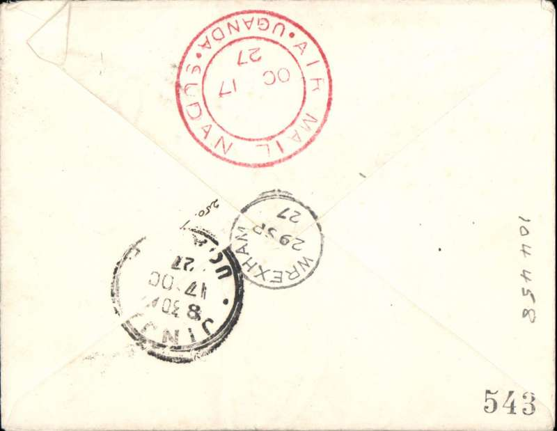 """(GB External) Gladstone second """"Pelican"""" service, London to Jinja, bs 17/10, carried on Gladstone's first flight in the repaired Pelican, red double ring """"Uganda-Sudan Air Mail"""" cachet, plain cover franked 7 1/2d canc Wrexham cds, ms """"Experimental Service/Cairo-Uganda""""."""