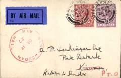 (GB External) Captain Gladstone's last flight Khartoum to Kisumu 17/10,airmail etiquette cover franked 7 1/2d canc Huddersfield cds, red 'Kenya-Sudan/Oct 17/27/Air Mail' cachet,