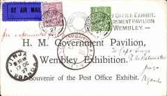 (GB External) Wembley Exhibition, Post Office souvenir card carried on Captain Gladstone's last flight Khartoum to Jinja 17/10 arrival ds on front, franked 6 1/2d canc Gosport cds, black 'Kenya-Sudan/Oct 17/27/Air Mail' cachet and black double ring 'Wembley Exhibition/1925 hs. 183 items were flown of which only 8 were Wembley Exhibition cards. Francis Field authentication hs verso. A superb item in fine condition.