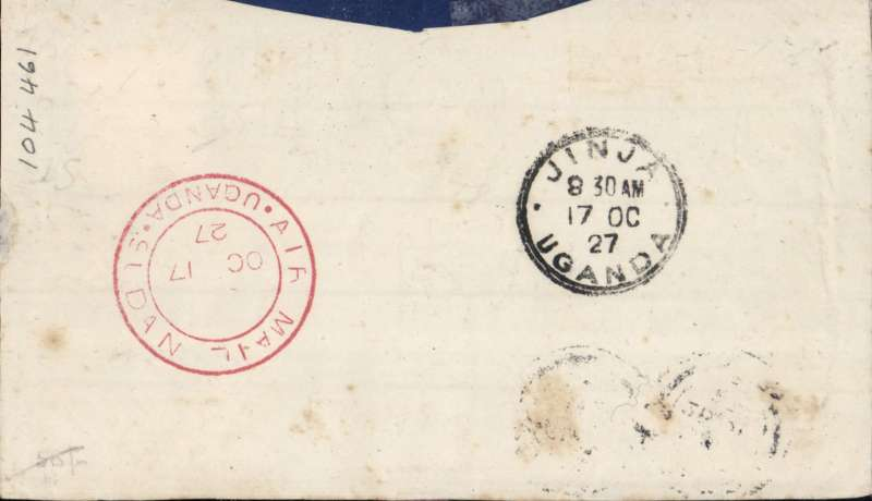 (GB External) Captain Gladstone's last flight, Khartoum to JInja, bs 17/10, Smye 'Union Jack' patriotic cover franked 1/2d printed paper rate plus 6d air fee, fine strike red 'Uganda-Sudan/Oc 17/27/Air Mail' cachet verso. Open letter, flap neatly removed.