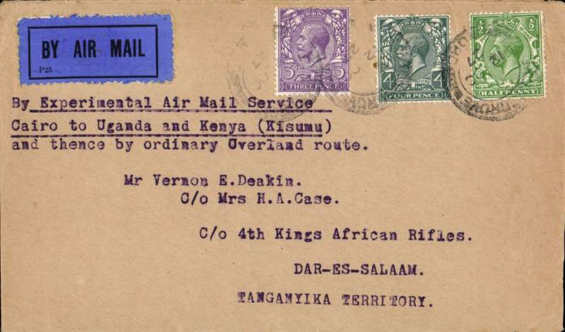 (GB External) October 13th UK dispatch Gladstone experimental air mail service to Uganda and Kenya continued by surface beyond Cairo due to extenove damage of the 'Pelican'. Airmail cover addressed to Dar es Sxalaam, franked 7 1/2d canc Bromsgrove 12/10 cds.
