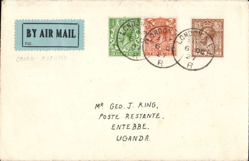 (GB External) Prepared for the October 13th UK dispatch Gladstone experimental air mail service to Uganda and Kenya, continued by surface beyond Cairo due to extensive damage of the 'Pelican'. Airmail cover addressed to Entebbe, franked 7 1/2d canc London 13/10 cds..