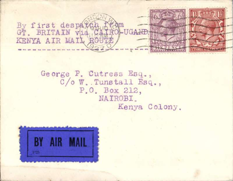 (GB External) 1927 airmail cover endorsed for 1st GB Dispatch via Cairo -Uganda-Kenya correctly dated & rated