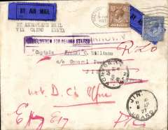 "(GB External) First UK acceptance for the Gladstone experimental flight from Khartoum to Jinja 5/4 via Kisumu, bs 31/3, plain cover franked 7 1/2d,  red 'Kenya-Sudan/MR 31 27/Air Mail' hs verso, black/dark blue 1926 P25 etiquette rated rare by Mair, 'Undelivered For Reason Stated' and 'Unknown' hs's. Returned by surface to sender with various routing marks.The reason there is no red cachet ""Service officially arranged to operate from London March 10 1927, but abandoned due to breakdown of hydroplane on Lake Victoria"" is because the mailing of this particular cover was not arranged by Francis Field."