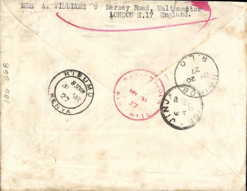 """(GB External) First UK acceptance for the Gladstone experimental flight from Khartoum to Jinja 5/4 via Kisumu, bs 31/3, plain cover franked 7 1/2d,  red 'Kenya-Sudan/MR 31 27/Air Mail' hs verso, black/dark blue 1926 P25 etiquette rated rare by Mair, 'Undelivered For Reason Stated' and 'Unknown' hs's. Returned by surface to sender with various routing marks.The reason there is no red cachet """"Service officially arranged to operate from London March 10 1927, but abandoned due to breakdown of hydroplane on Lake Victoria"""" is because the mailing of this particular cover was not arranged by Francis Field."""