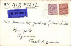 "(GB External) First UK acceptance for 1st Gladstone flight, addressed to 'His Honour Justice Guthrie Smith', franked 7 1/2d canc London Foreign Section 10/3 cds to Kampala, arrival ds 4/4, via Kisumu 31/3, bears red circular cachet for ""Keyna-Sudan Air Mail"" verso. The reason there is no red cachet ""Service officially arranged to operate from London March 10 1927, but abandoned due to breakdown of hydroplane on Lake Victoria"" is because the mailing of this particular cover was not arranged by Francis Field. Newall (p89), 280 units. Few closed non invasive top edge tears, see image.."