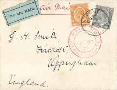 (Uganda) Uganda to UK, carried on the opening of the regular  Khartoum-Kisumu-Khartoum service, airmail etiquette cover franked 70c canc Entebbe cds,  via Cairo 5/3 transit cds, red circular 'Kenya-Sudan/FE 27/ 27/Air |Mail', Newall 80 units. Image.