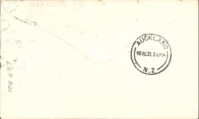 (New Zealand) Survey Flight, Gisborne to Auckland, 10/12, uncommon and attractive souvenir airmail cover.