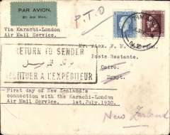 """(New Zealand) First New Zealand acceptance via Adelaide-Perth and Karachi-London services, Timaru to Cairo, bs 8/8, correctly rated 8d (see Walker p25), typed endorsement """"Via By Karachi-London Air Mail Service""""/""""First Day of New Zealands/Connection with the Karachi-London/Air Mail Service/1st July, 1930"""", plain cover, special black/pale blue etiquette. The July 1st date of postage suggests internal carriage by Adelaide-Perth service and is, thus, likely to be one of only 10 flown, see Walker p26.  Superb item."""