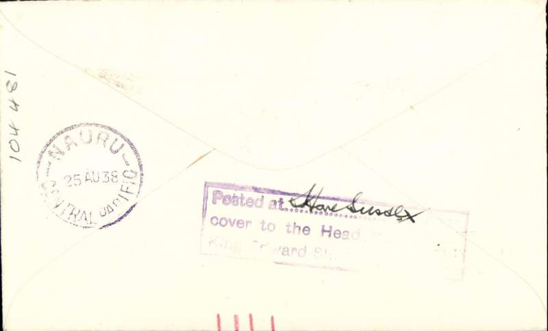 """(GB External) F/F Third Stage Empire Air Mail Scheme, London to Nauru, 25/8 arrival confirmation ds on front, plain cover franked 1 1/2d,  """"First Flight/to/Nauru/at/1 1/2d Rate"""", Imperial Airways."""