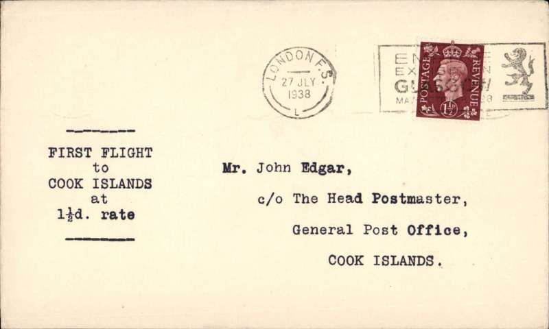 "(GB External) Imperial Airways F/F Third Stage EAMS, London to Cook Islands, bs Rarotonga 29/8, typed  ""First Flight/to/Cook Islands/at/1 1/2d Rate"""