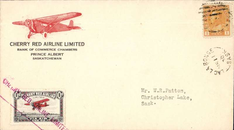 "(Canada) F/F Lac La Longe to Christopher Lake, b/s, red/white semi official company stamp CL46 cancelled st line magenta ""Cherry Red Airline Ltd"" cachet, printed company cover with red plane corner logo."