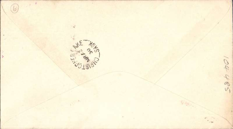 """(Canada) F/F Lac La Longe to Christopher Lake, b/s, red/white semi official company stamp CL46 cancelled st line magenta """"Cherry Red Airline Ltd"""" cachet, printed company cover with red plane corner logo."""