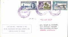 (Gilbert & Ellice Islands) Royal Australian National Airways, F/F Canton Island to Sydney, bs 12/2, printed souvenir cover franked KGVI 1/9d.