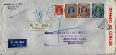 (India) India censored WWII registered airmail cover, 22x11cm, Bombay to Johannesburg via the Horseshoe Route, high  x9 weight stage franking inc 2R x2 and 5R, sealed India censor tape tied by Bombay censor mark, wax seal verso. Image.