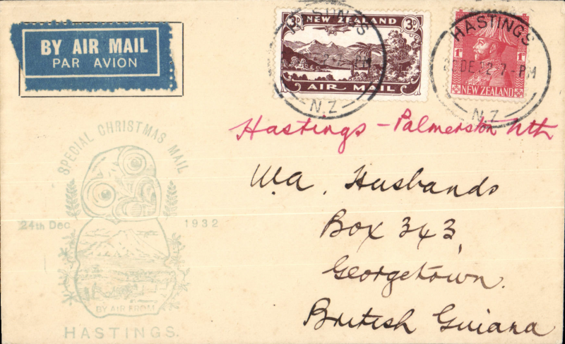 (New Zealand) Christmas Eve airmail flight, Hastings to Palmerston North, cachet, bs 24/12