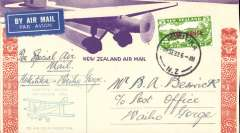 (New Zealand) Westland Aero Club, survey flight Hokitika-Waiho Gorge, bs 28/9, cachet, souvenir cover.