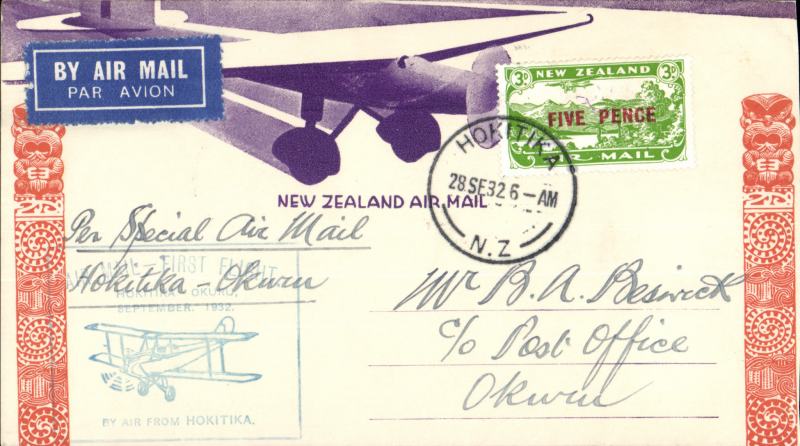 (New Zealand) Westland Aero Club, survey flight Hokitika-Okuru, bs 28/9, cachet, souvenir cover.