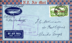 (New Zealand) Westland Aero Club, survey flight Okuru to Waiho Gorge, bs 29/9, cachet, souvenir cover.