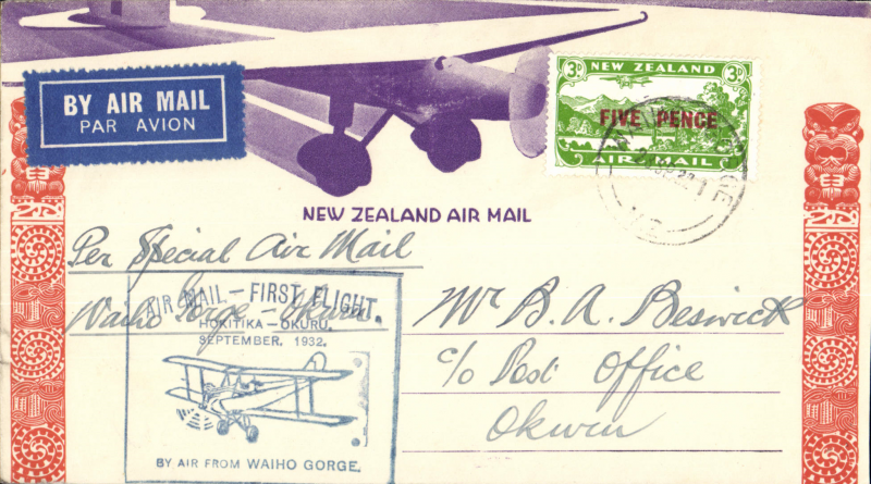 (New Zealand) Westland Aero Club, survey flight Waiho Gorge to Okuru, bs 28/9, cachet, souvenir cover.