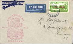 (New Zealand) Christmas Airmail Flights, Gisborne-Timaru, bs 24/12, red cachet
