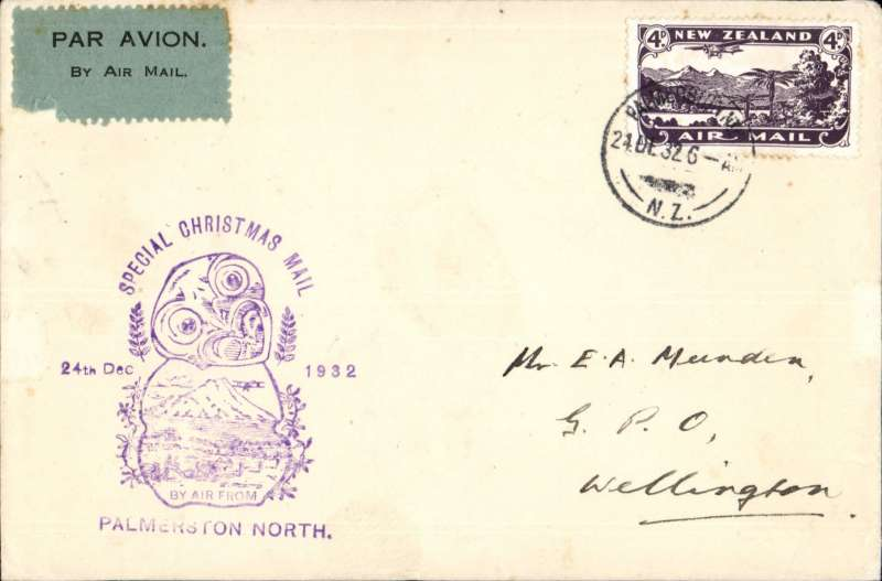 (New Zealand) Christmas Airmail Flights, Palmerston North to Wellington, bs 24/12, cachet