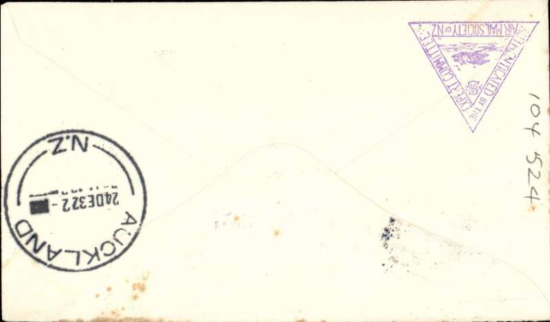 (New Zealand) Christmas Airmail Flights, New Plymouth to Auckland-Timaru, bs 24/12, cachet. Few tone spots, see scan.