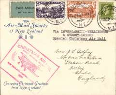 (New Zealand) NZ Christmas Airmail to UK via ANA Sydney-London (through Welingtn), AMSNZ souvenir cover franked 7d&4d airs and 9d ordinary, canc Invercargill cds, red cachet, AMCNZ expertisation hs verso.