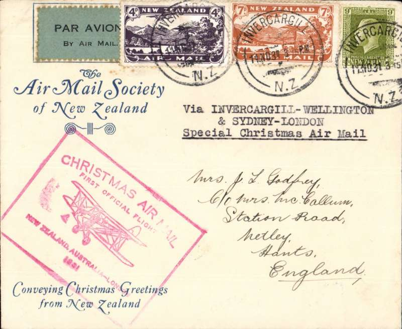 (New Zealand) NZ Christmas Airmail to UK via ANA Sydney-London (through Welington), AMSNZ souvenir cover franked 7d&4d airs and 9d ordinary, canc Invercargill cds, red cachet, AMCNZ expertisation hs verso.