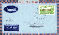 (New Zealand) Auckland-North Auckland Survey flight, Dargannville-Whangarei, bs, cachet.