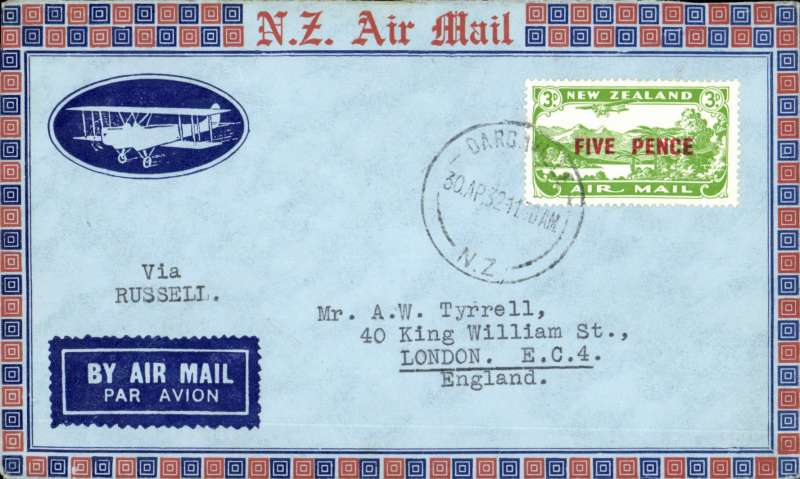 (New Zealand) Auckland-North Auckland Survey flight, Dargannville-Russell, bs, cachet.
