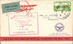(New Zealand) Wellington-Auckland flight, Palmerston North to Wanganui, bs, cachet.