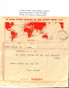 (Ephemera) Original WWII Telegram, Australia and China Telegraph Co Ltd, sent from Penang Feb 6, 1941 showing wartime cable and wireless routes, see scan. On 7/12/41 Pearl Harbour was attacked and on 19/12/41 Penang fell to the Imperial Japanese Army.