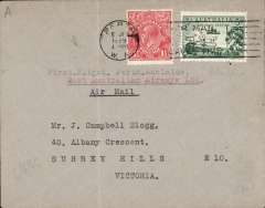 (Australia) W.A.Airways Ltd, first flight Perth to Adelaide, no arrival ds, plain cover franked 4 1/2d, Ironed vertical crease, see image.