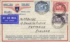 "(Australia) Return of the first Imperial Airways experimental flight England-Australia, Queensland to London, correctly rated 1/11d,  SG 121, 122, 123 x3 (two verso) , no arrival ds (applied to registered mail only, souvenir ""All The Way"" cover with IAW winged logo and route details, ANA/Qantas/Imperial Airways."