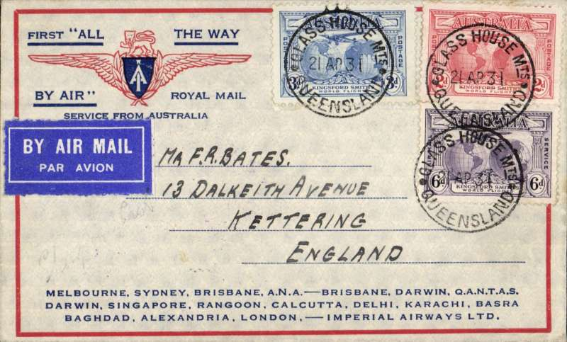 """(Australia) Return of the first Imperial Airways experimental flight England-Australia, Queensland to London, correctly rated 1/11d,  SG 121, 122, 123 x3 (two verso) , no arrival ds (applied to registered mail only, souvenir """"All The Way"""" cover with IAW winged logo and route details, ANA/Qantas/Imperial Airways."""