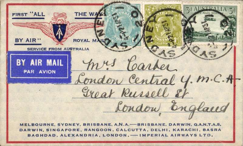 "(Australia) Return of the first Imperial Airways experimental flight England-Australia, Sydney to London, correctly rated 1/11d, no arrival ds (applied to registered mail only, souvenir ""All The Way"" cover with IAW winged logo and route details, ANA/Qantas/Imperial Airways."