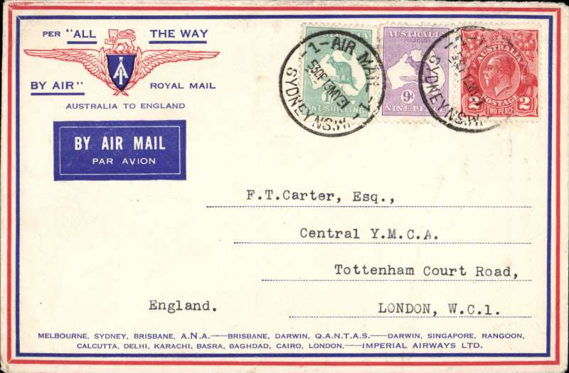 """(Australia) Return of the SECOND Imperial Airways experimental flight no arrival ds (applied to registered mail only) souvenir """"All The Way"""" cover with IAW winged logo and route details correctly rated 1/11d, ANA/Qantas/Imperial Airways."""