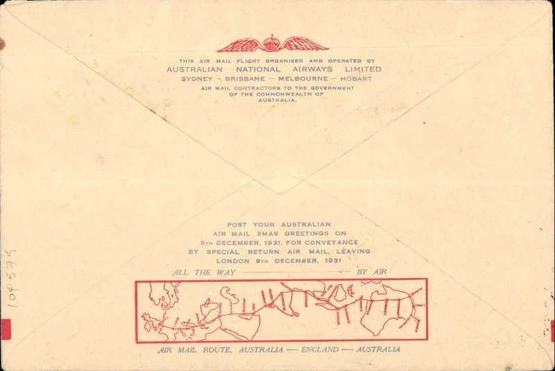 "(Tasmania) Tasmania to London, no arrival ds (only a few were b/s in London, see Eustis #222), carried on the first All Australian Airmail to England, franked 1/2d canc Hobart cds, special violet winged"" cachet, souvenir greetings cover 19x12cm. Plane crashed at Alor Star, then carried by Kingsford Smith to London."