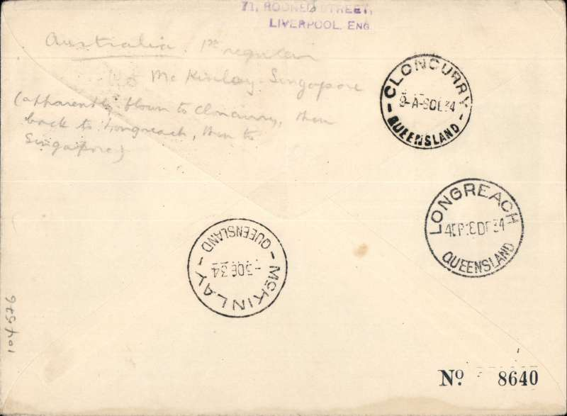 "(Australia) Scarcer Imperial Airways/Qantas, Sydney to Singapore, via Cloncurry 6/12 and Longreach 8/12, carried on the first regular service, Australia to England, official blue/black/white souvenir ""Kangaroo"" cover, correctly rate 9d (see Wingent p130) stamps include KS 1931 6d air. Forwarded to Liverpool, UK, by surface."