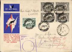 (Australia) First acceptance of mail for South Africa, Normanton to Entebbe, bs 9/1/35 8am, via Cairo 22/12, carried on first regular Imperial Airways/Qantas Australia-England service, souvenir red/white/blue 'Kangaroo' company cover, franked 2/3d inc 1931 KS 6d x4, canc Brisbane/Airmail cds 7/12, ms 'Australia-Egyp-S.Africa' and a framed 'Par Avion/Jusqua (ms) Cairo' which is overstamped by an Australia framed 'Forwarded By Air' cachet. Correctly rated 2/3d for carriage all the way to Uganda by the Australia-UK service to Cairo 22/12 and the (London)-Cairo-Cape Town surface to Entebbe (see Wingent p130). Additionally there is an Entebbe 11 Jan 