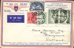 "(Australia) Return of the first Imperial Airways experimental flight England-Australia, Melbourne to London, franked 1/11d, no arrival ds (applied to registered mail only, souvenir ""All The Way"" cover with IAW winged logo and route details, ANA/Qantas/Imperial Airways.  EBAY"