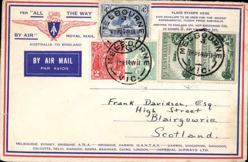 """(Australia) Return of the first Imperial Airways experimental flight England-Australia, Melbourne to London, franked 1/11d, no arrival ds (applied to registered mail only, souvenir """"All The Way"""" cover with IAW winged logo and route details, ANA/Qantas/Imperial Airways.  EBAY"""
